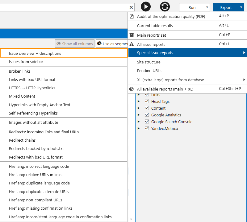 How to export 'Issue overview + descriptions' report from Netpeak Spider