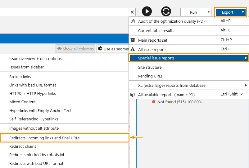 How to export a detailed report on redirects from Netpeak Spider