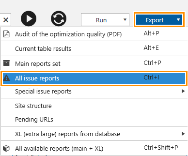 How to export all reports on issues in Netpeak Spider