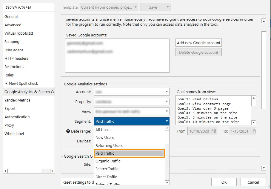 How to set paid traffic in Google Analytics settings in Netpeak Spider