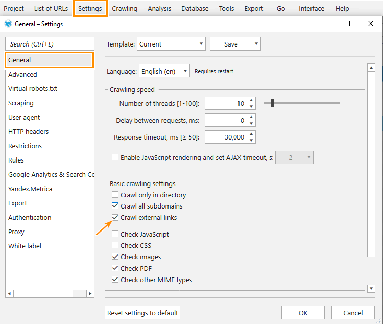 How to enable crawling of external links in Netpeak Spider