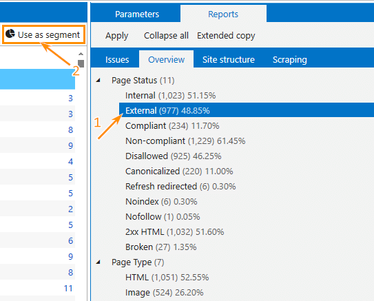 How to set a segment by external links in Netpeak Spider