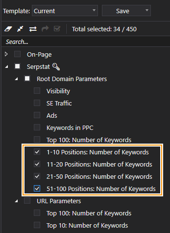 The parameters you need to set in Netpeak Checker to get information about the number of words the website ranks for on particular positions in Google