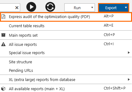 Export of the express audit of the optimization quality in Netpeak Spider