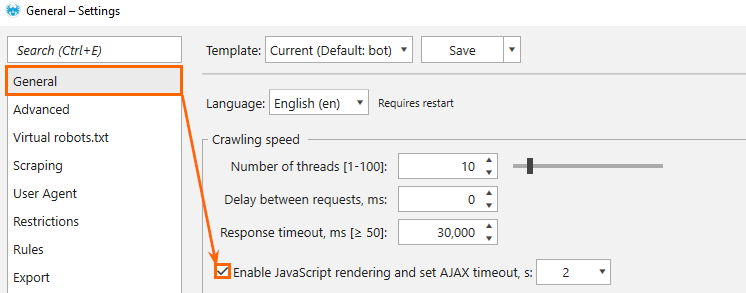 Setting of the JavaScript rendering and AJAX timeout in Netpeak Spider