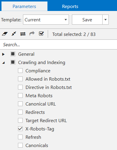 Select 'X-Robots-Tag' parameter in a sidebar, and hit the 'Start' button to start crawling in Netpeak Spider