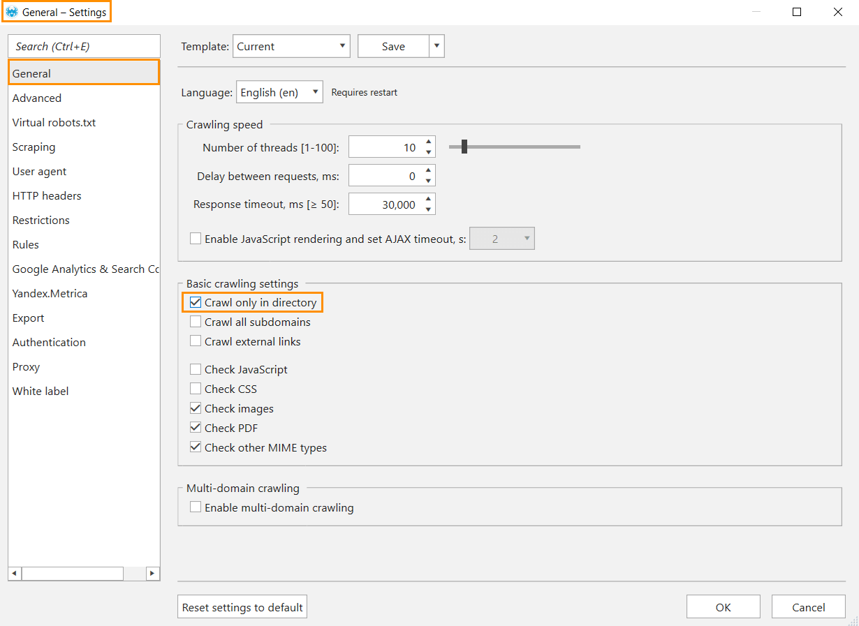Enable the 'Crawl only in directory' option in the general settings of Netpeak Spider