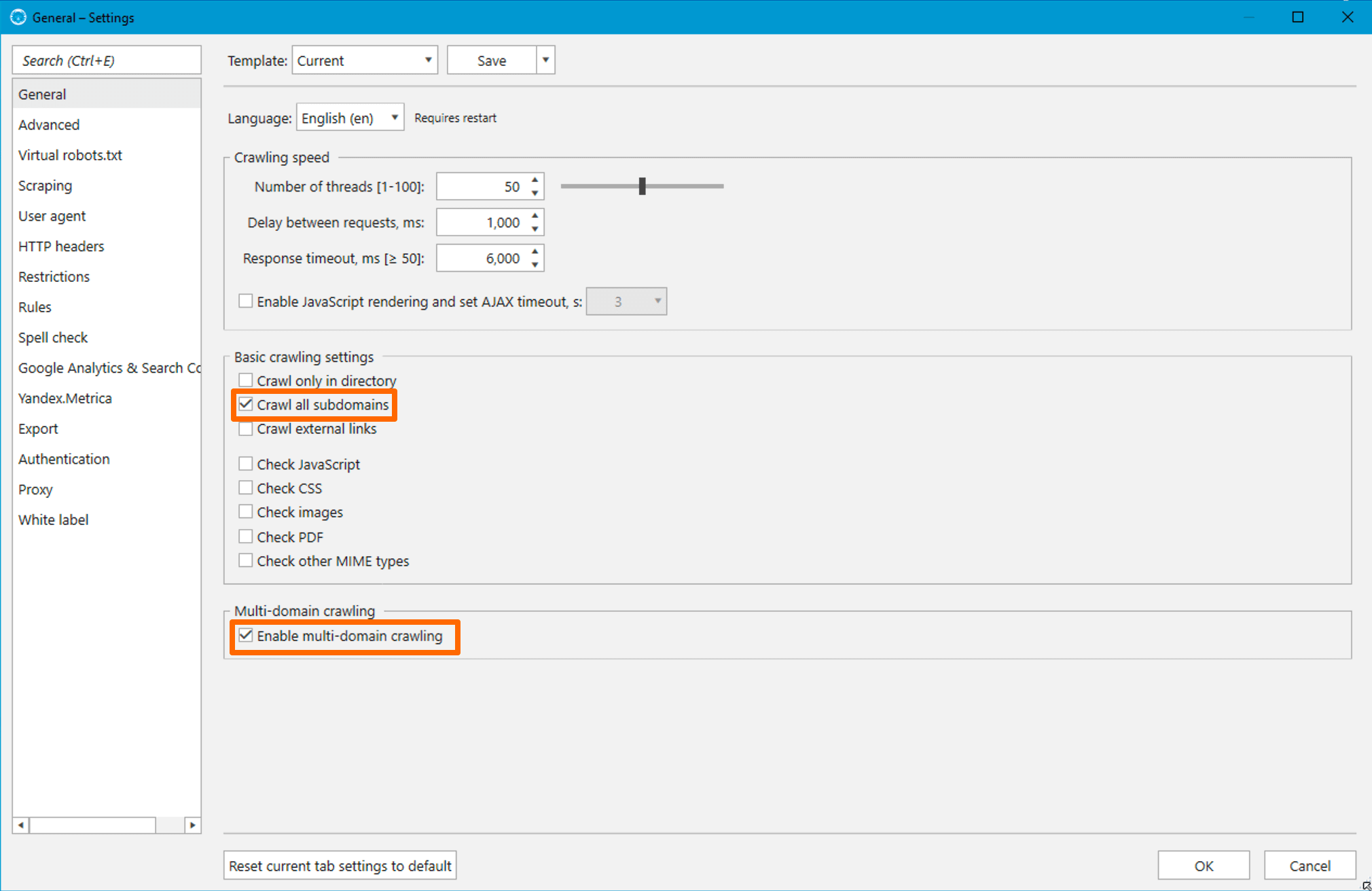 How to enable consindering of all subdomains as internal and multi-domain crawling in Netpeak Spider