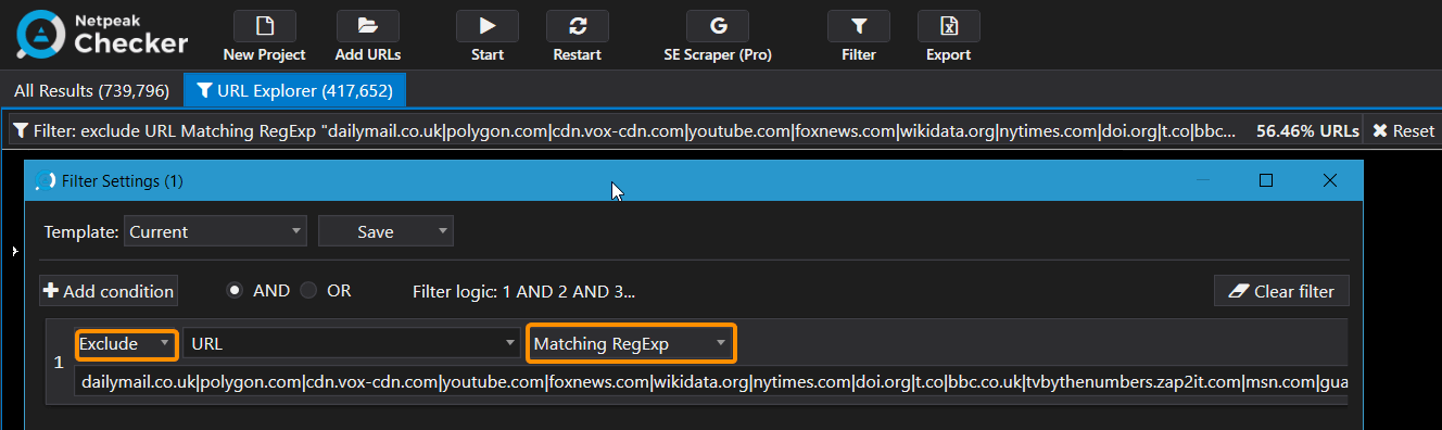 How to filter links with regexp in Netpeak Checker