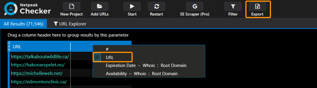 How to hide the columns in the table in Netpeak Checker