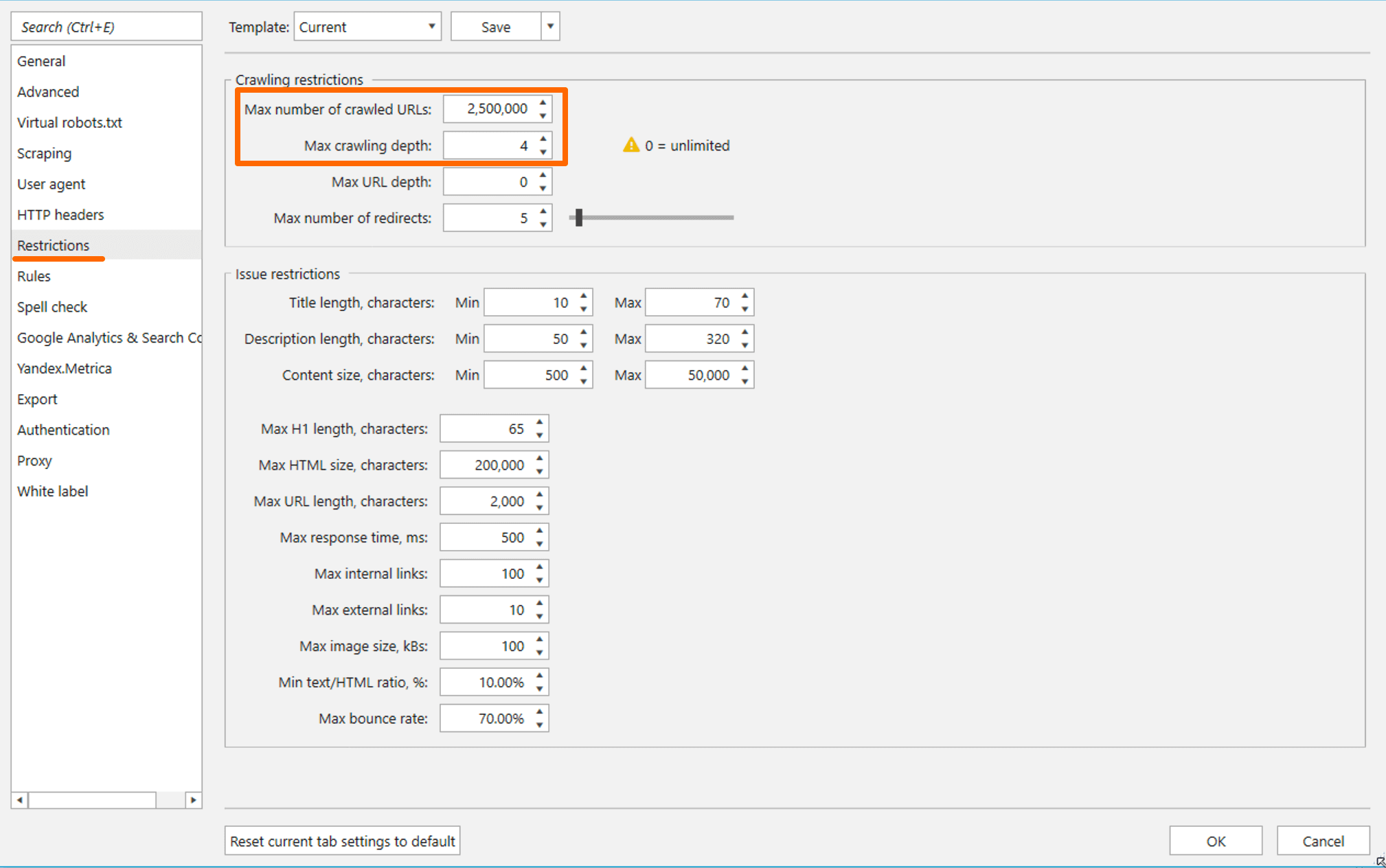 How to specify the maximum number of crawled URLs and site crawling depth in Netpeak Spider