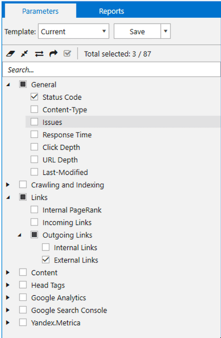 The parameters which you have to enable in Netpeak Spider to find necessary links