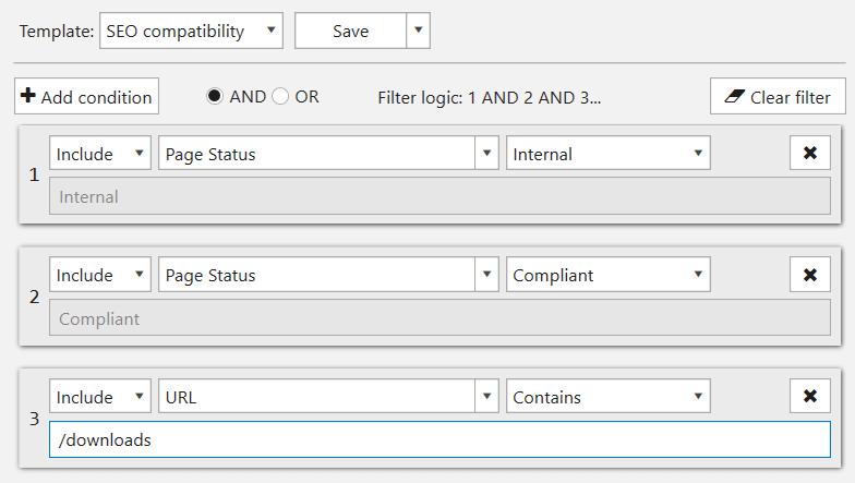 Custom filter template in Netpeak Spider 3.0