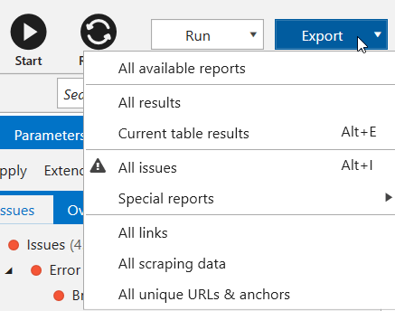 Export templates in Netpeak Spider 3.0