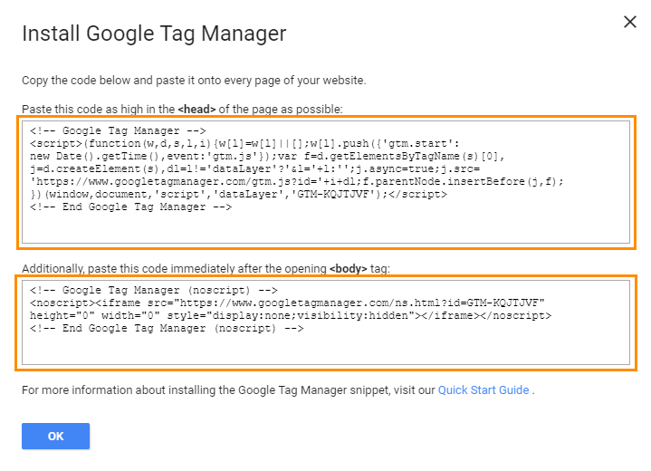 Google Tag Manager Installation