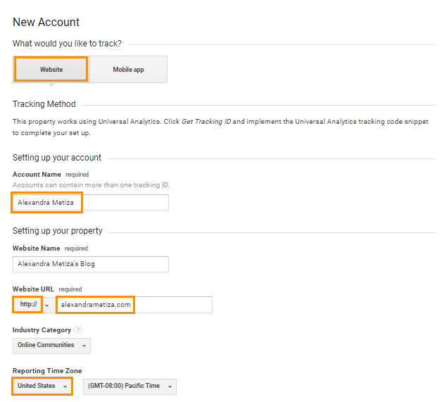 Registartion in Google Analytics