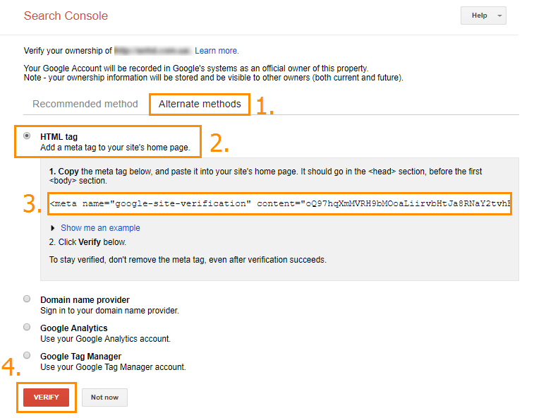 Registartion in Google Search Console