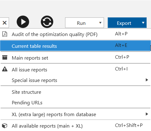 'Export current table results' option in Netpeak Spider