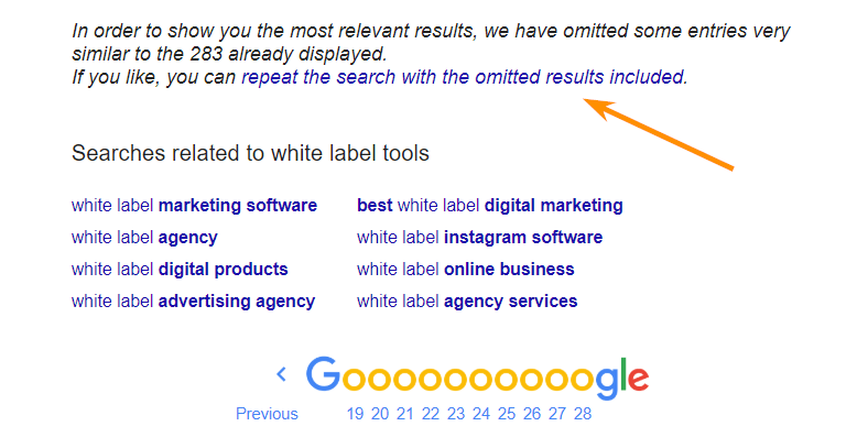 Omitted results from Google SERP