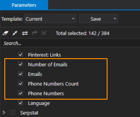 Phone numbers and emails in Netpeak Checker