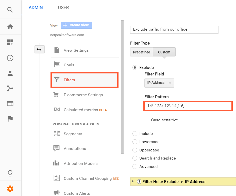 Using regexp to filter IP addresses in Google Analytics