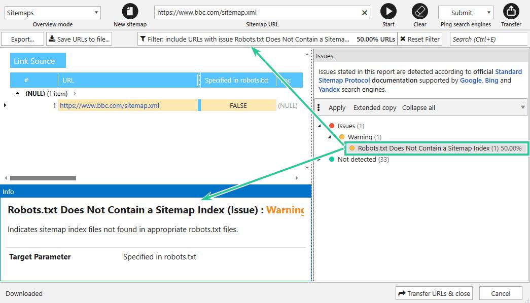 Export sitemap
