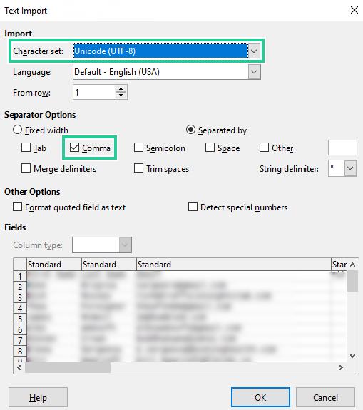 Export file format