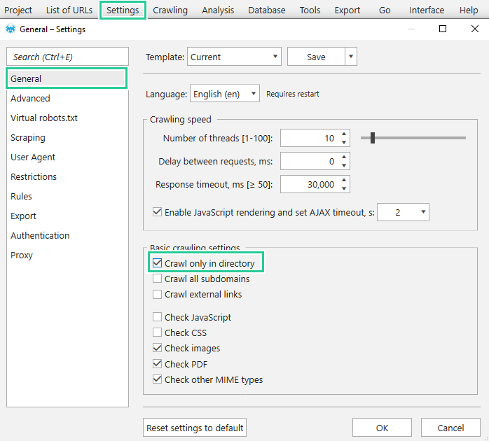 Limit crawling to one category
