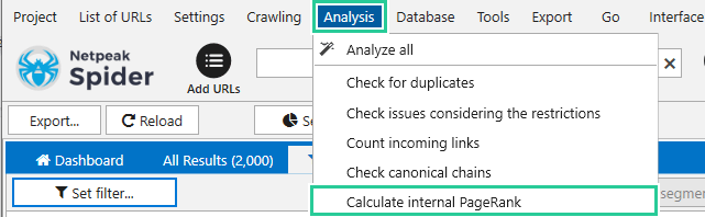 PageRank values in the main table