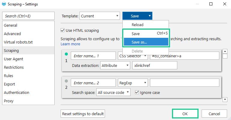 Settings templates