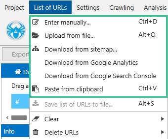 using the Add URLs button