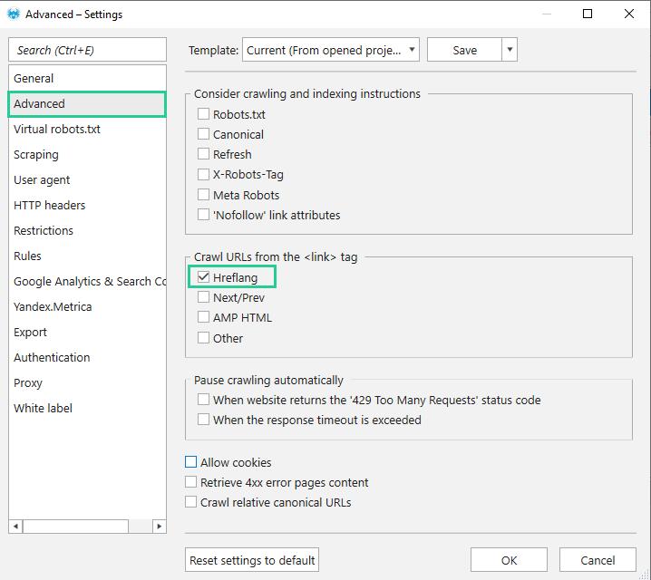 Tick the Hreflang option