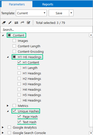 Parameters for duplicates analysis