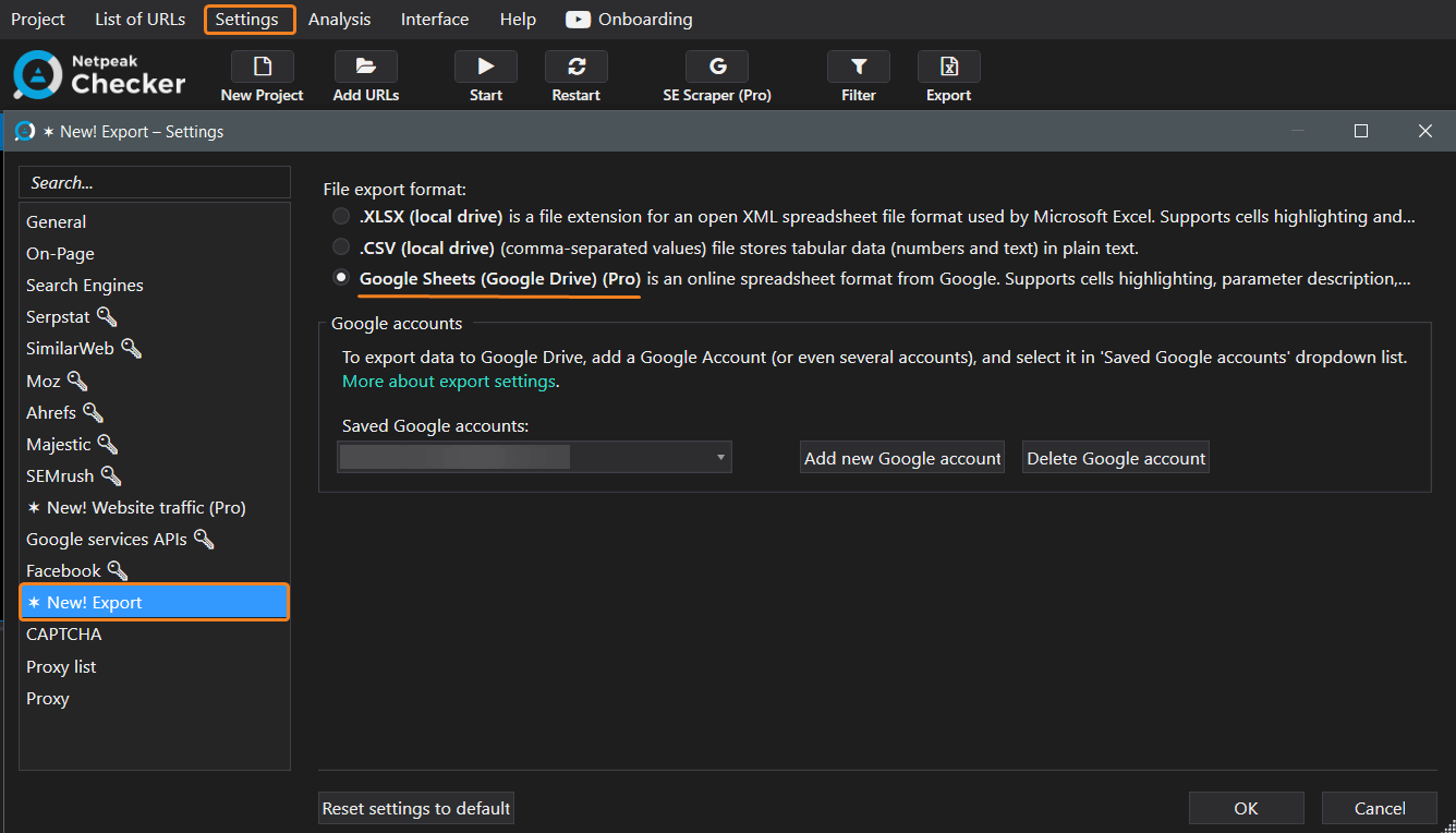 Export tab Google Sheets