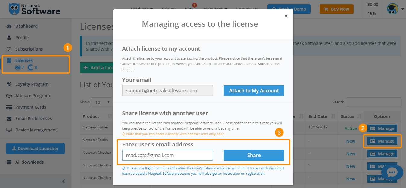 Share license to another user
