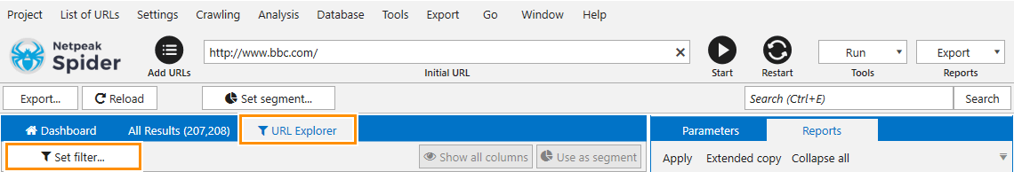 Filter your data by a certain parameter