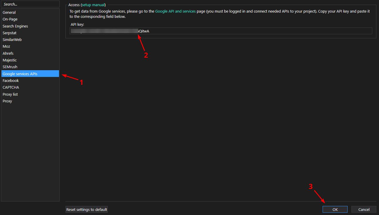 paste the key in Netpeak Checker