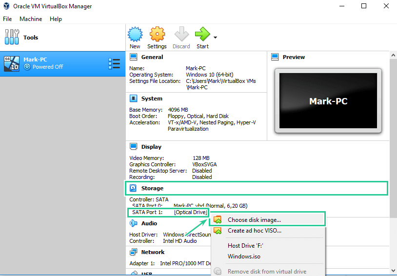 Choose disk image