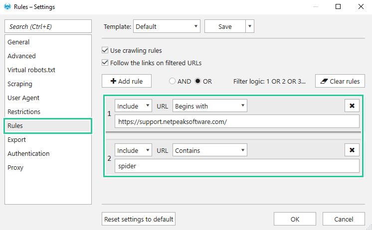 Set filter logic