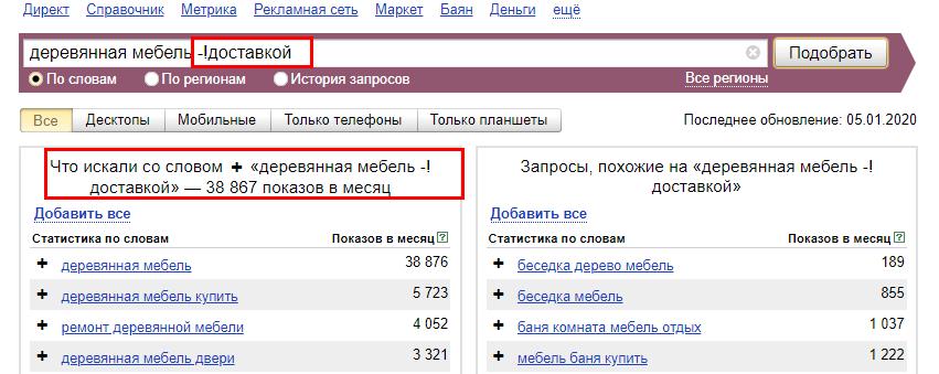 Как использовать поисковые операторы в Яндекс.Вордстат