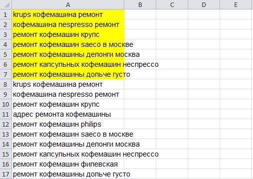 Как работать с очищенными фразами в Excel