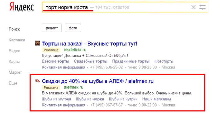 Пример нерелевантной выдачи в Яндекс