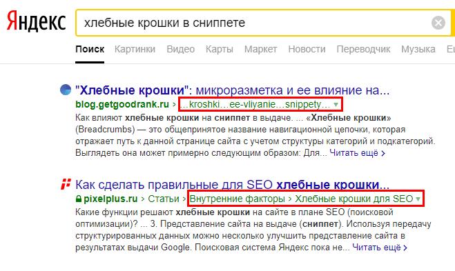 Вложенные ссылки в сниппете Яндекс