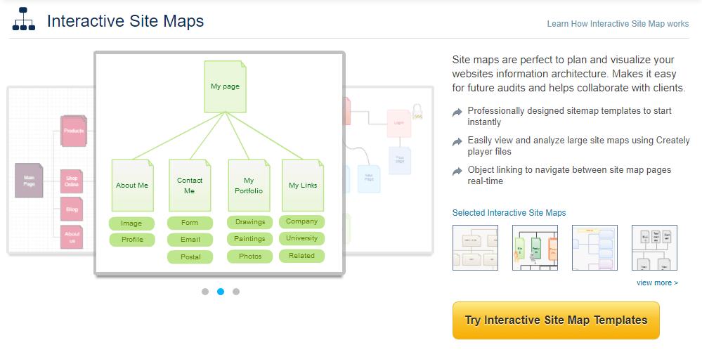 Программы прототип сайта: Creately