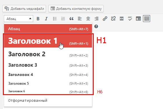 Оптимизация контента: заголовок первого порядка H1