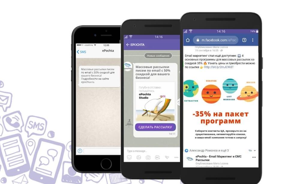 Сообщение в соцсетях, уведомление в Viber, SMS на телефон