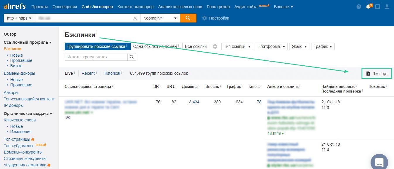 Как посмотреть ссылающиеся домены и обратные ссылки в Ahrefs