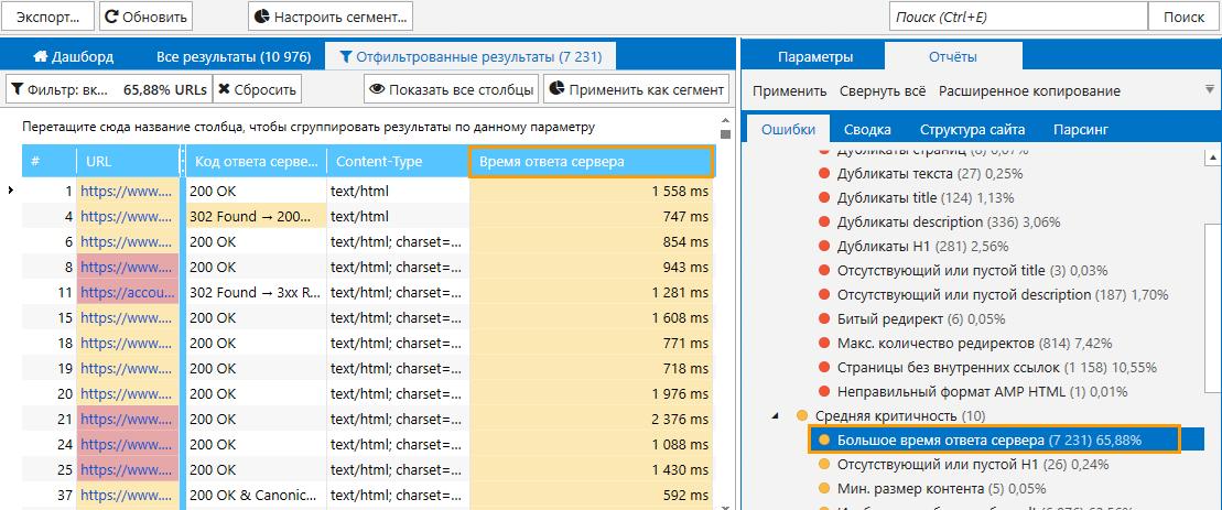 Показатель времени ответа сервера в Netpeak Spider