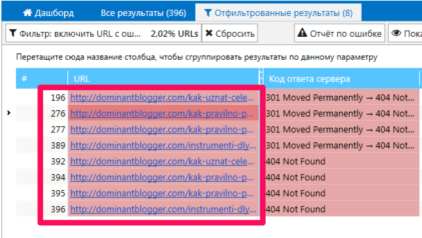 3 SEO-эксперемента: список битых ссылок в Netpeak Spider