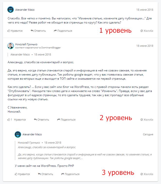 Уровни комментариев